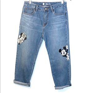 GAP Disney Girlfriend Jeans w/Mickey & Minnie